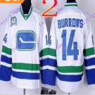 Stitched Vancouver Canucks 14 Alex Burrows White 3rd Hockey Jerseys Ice Jersey