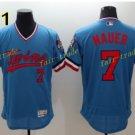 Minnesota Twins 7 Joe Mauer Jersey Flexbase Throwback Baseball Jerseys Uniforms Blue Style 1