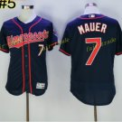 Minnesota Twins 7 Joe Mauer Jersey Flexbase Throwback Baseball Jerseys Uniforms Navy Style 1
