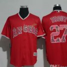 Los Angeles Angels #27 Mike Trout  Baseball Jersey Red Throwback Stitched Jerseys