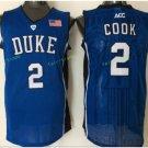 Duke Blue Devils Basketball Jerseys College Men 2 Quinn Cook Blue Black Stitched