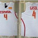 2017 RIO Spain Team Jersey Shirts Uniform 4 Pau Gasol Fashion Home Color White