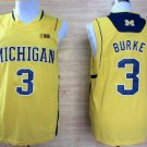 2017 College Michigan Wolverines Jerseys Big 3 Trey Burke Yellow Shirt Uniform