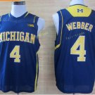 2017 College Michigan Wolverines Jerseys Big 4 Chirs Webber Blue Shirt Uniform