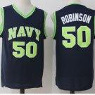 2017 New Style 50 David Robinson Basketball Jerseys Navy Naval Academy Jersey  Blue