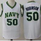 2017 New Style 50 David Robinson Basketball Jerseys Navy Naval Academy Jersey White
