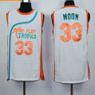 Best Quality 33 Jackie Moon White Jersey Men Shirt Flint Tropics Semi Pro Movie