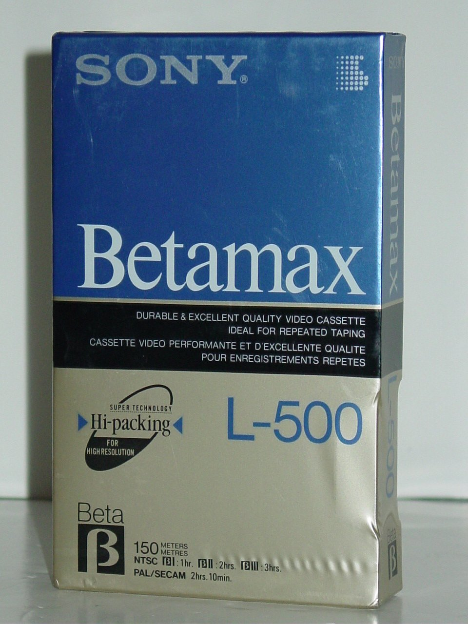 Sony Betamax L-500 180min HiFi Blank Beta Video Cassette Tape