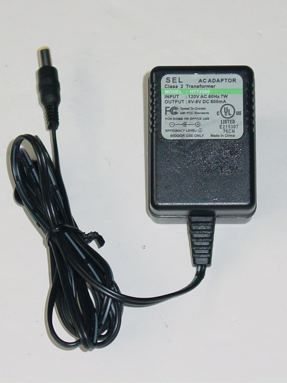 SEL HT72006 Charger AC Adapter 6V 8V 600mA for Stanley Spotlight SL500HL