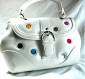 Trendy Handbags with Inset Colored Fabric Dots