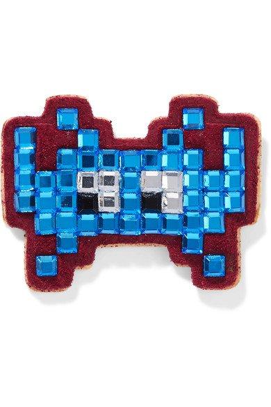 ANYA HINDMARCH Space Invader crystal-embellished suede sticker