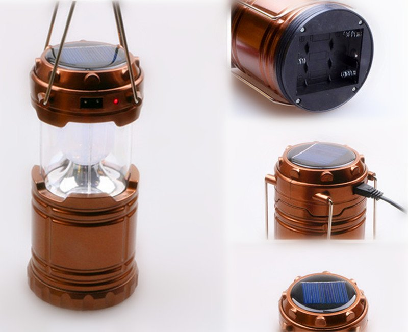 5W Portable Collapses Outdoor Camping Lantern with 3 AA Batteries Solar Emergency Lantern