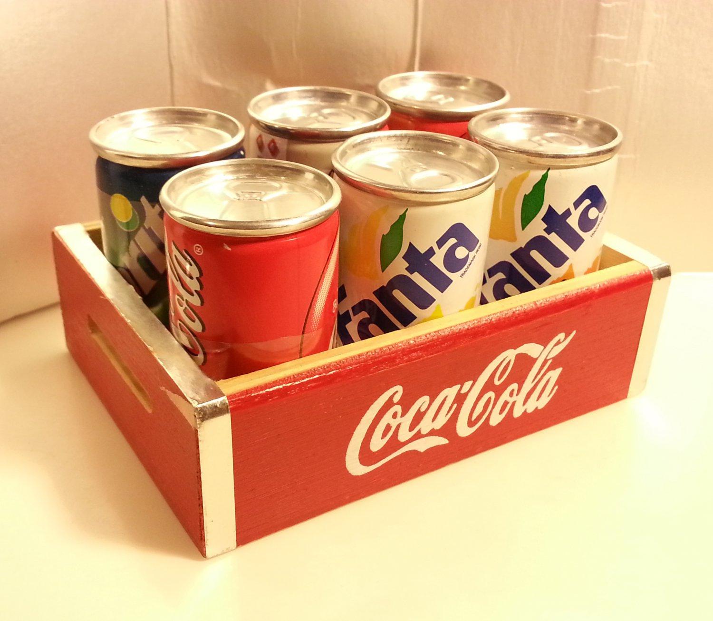 6 Mini Metal Soda Cans (Coca-Cola / Fanta / Sprite) in Coca Cola Wooden Crate 1998