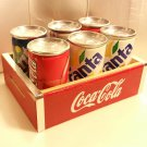 6 Mini Metal Soda Cans (Coca-Cola / Fanta / Sprite) in Coca Cola Wooden Crate 1998