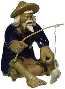 Bonsai Boy's Ceramic Figurine - Mudman Fisherman 1.25x 1.25x 1.75