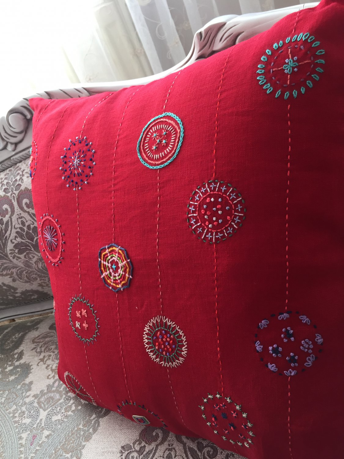 Decorative Pillow Cover for Christmas- Elegant Red