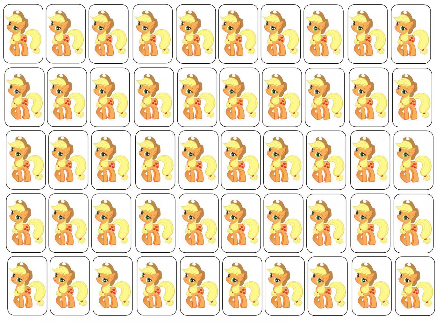 "50 Applejack ( My Little Pony ) Envelope Seals / Labels / Stickers, 1"" by 1.5"""