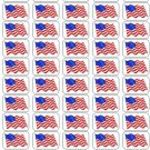 "50 American Flag Envelope Seals / Labels / Stickers, 1"" by 1.5"""