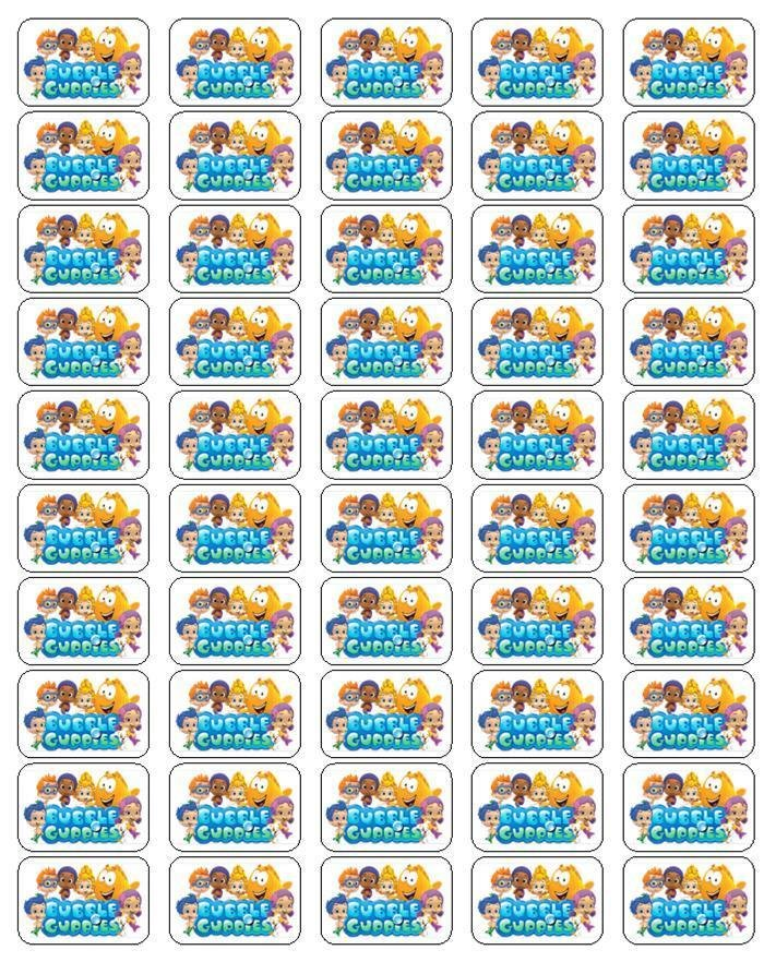 """50 Bubble Guppies Envelope Seals / Labels / Stickers, 1"""" by 1.5"""""""