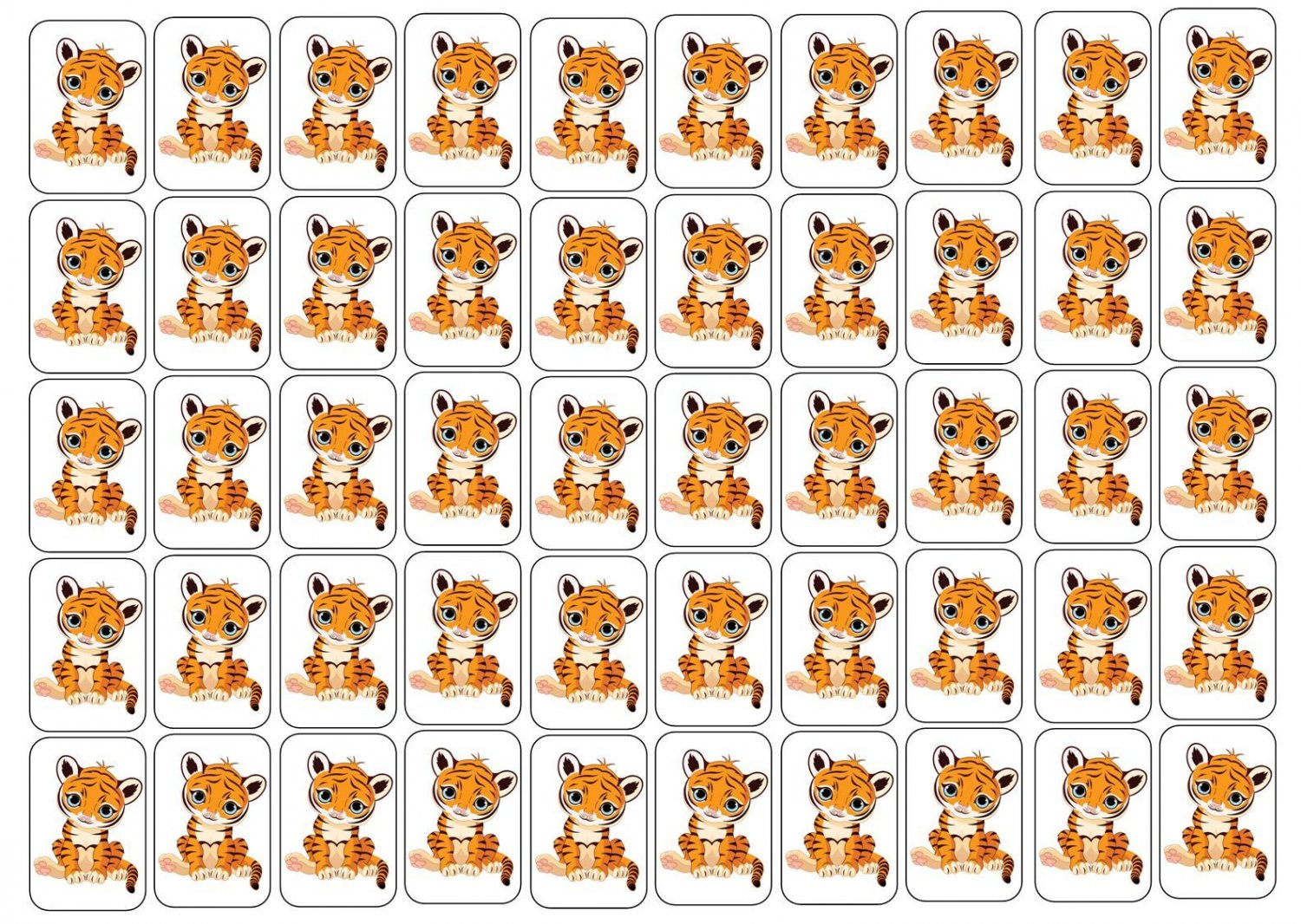 """50 Baby Tiger Envelope Seals / Labels / Stickers, 1"""" by 1.5"""""""