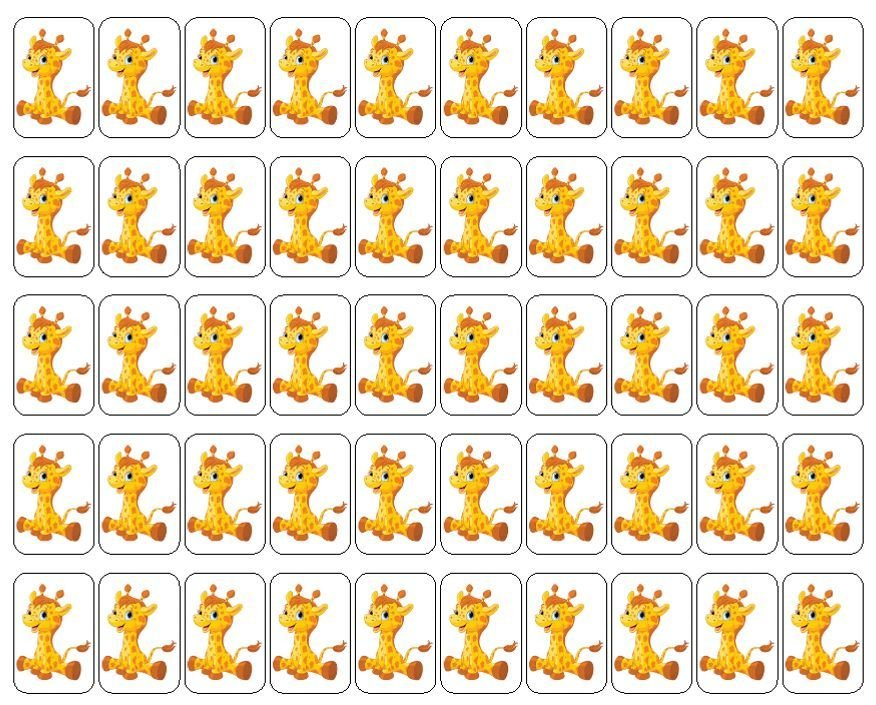 "50 Baby Giraffe Envelope Seals / Labels / Stickers, 1"" by 1.5"""