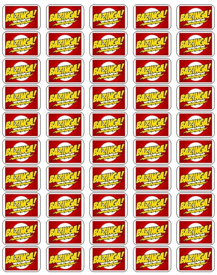 """50 Bazinga Envelope Seals / Labels / Stickers, 1"""" by 1.5"""""""