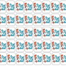 "50 Cat in the Hat Envelope Seals / Labels / Stickers, 1"" by 1.5"""
