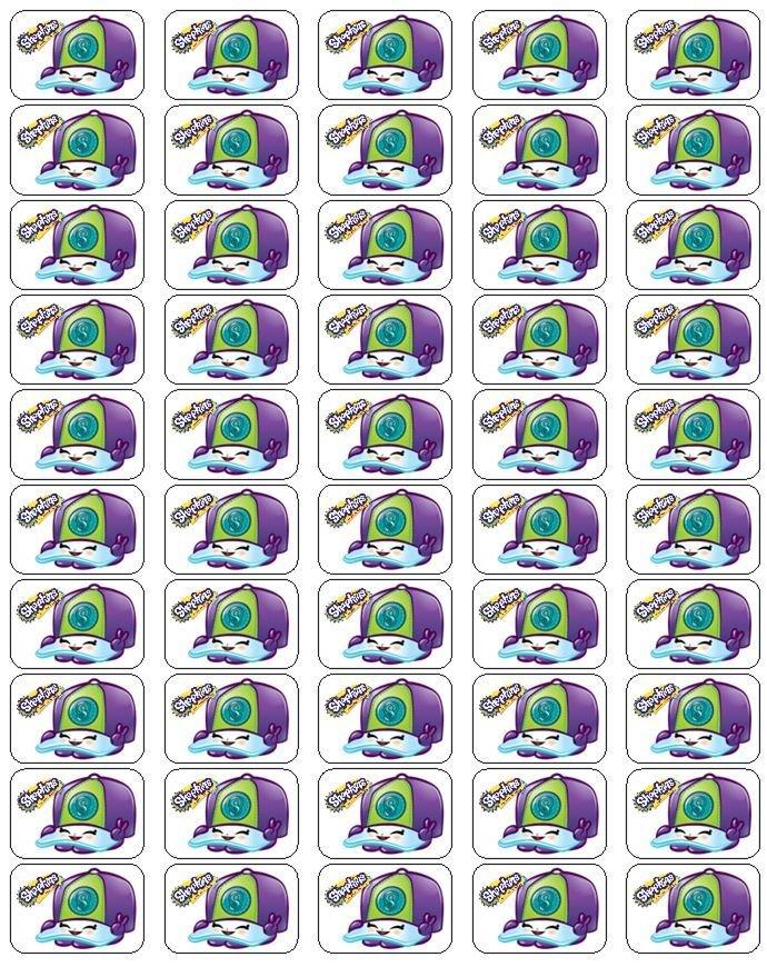 """50 Shopkins Casper Cap Envelope Seals / Labels / Stickers, 1"""" by 1.5"""""""