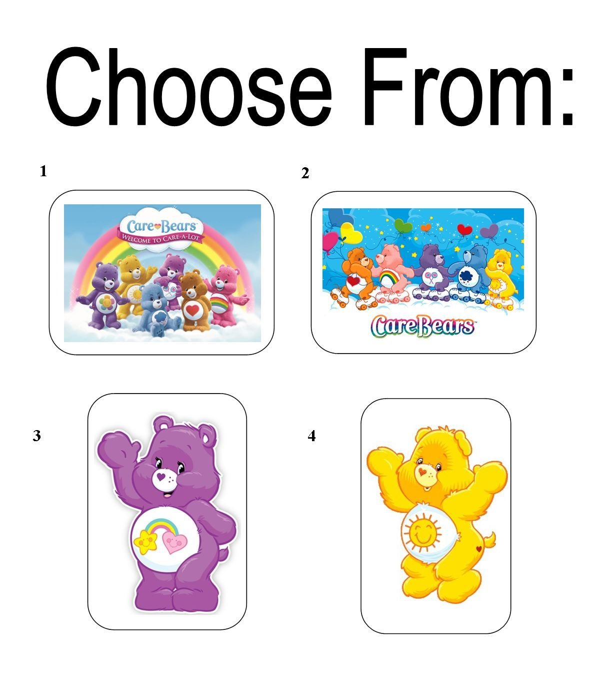 """50 Care Bears Envelope Seals / Labels / Stickers, 1"""" x 1.5"""""""