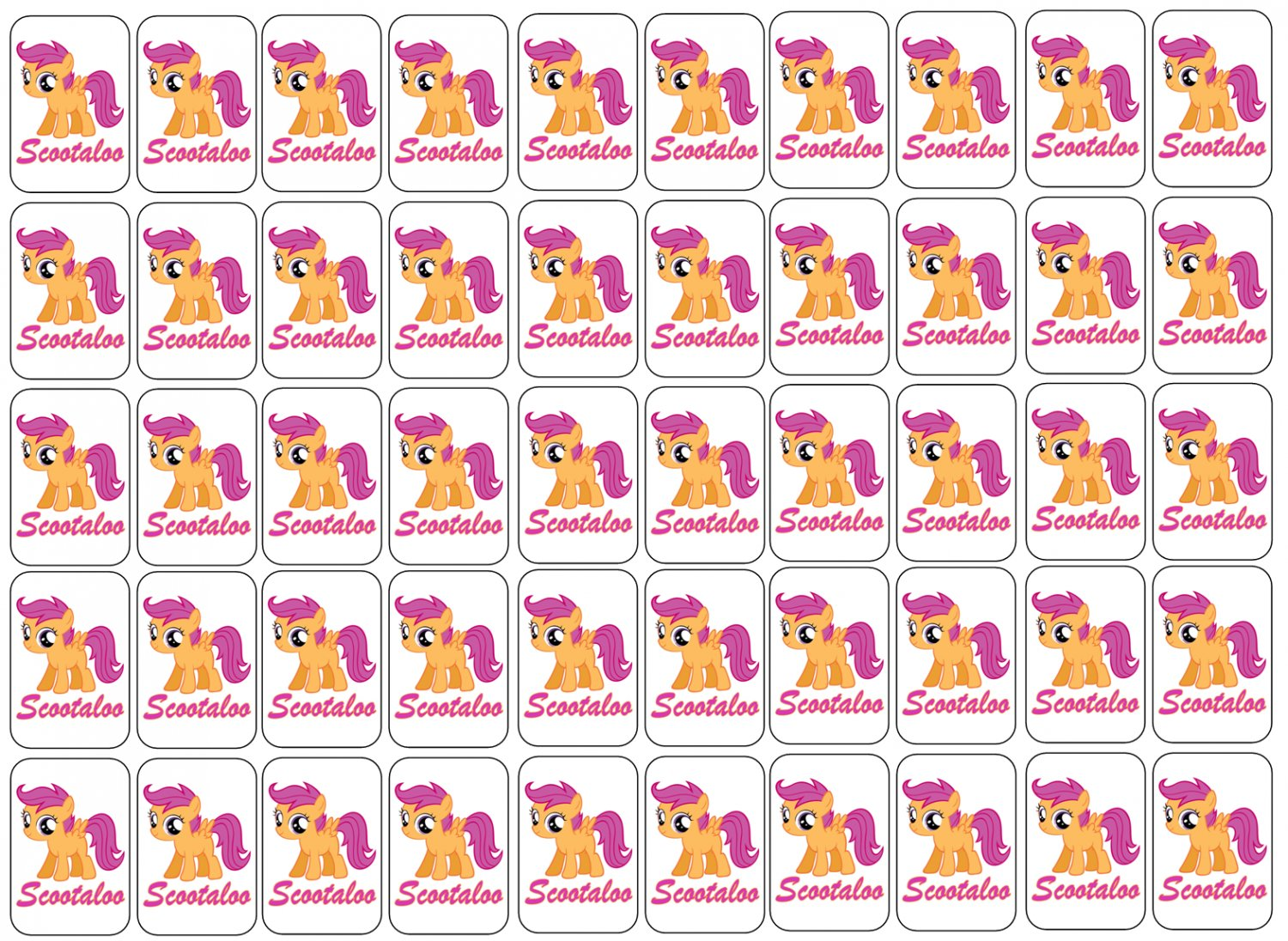 """50 My Little Pony Scootaloo Envelope Seals / Labels / Stickers, 1"""" by 1.5"""""""