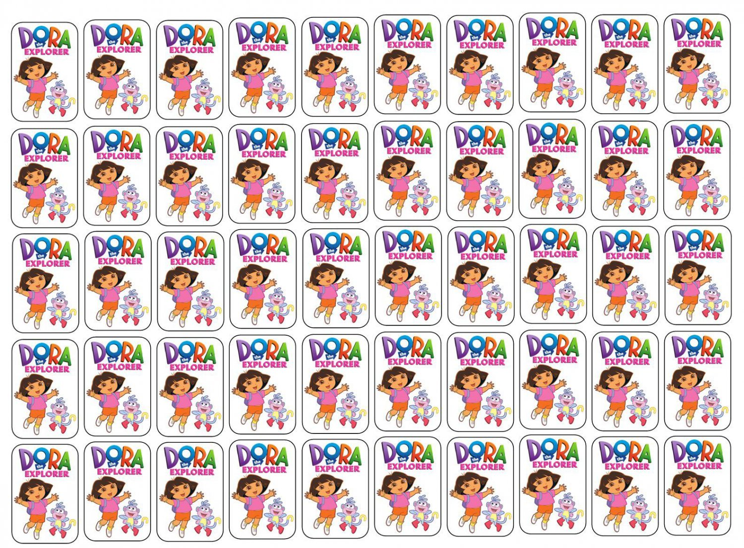 "50 Dora the Explorer Envelope Seals / Labels / Stickers, 1"" by 1.5"""