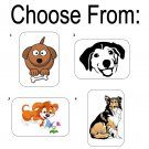 "50 Cute Dogs Envelope Seals / Labels / Stickers, 1"" x 1.5"""