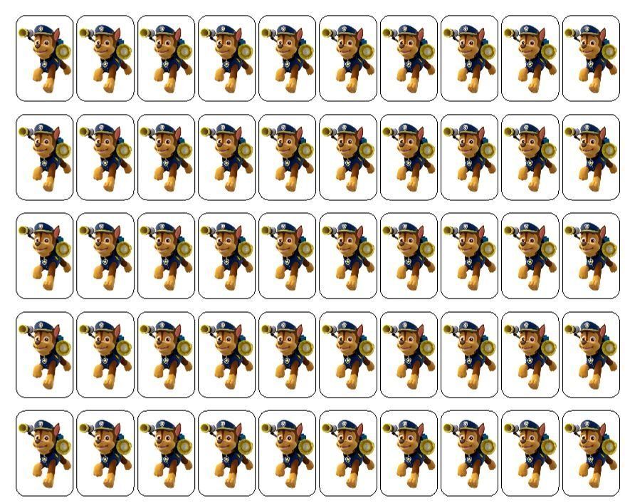 """50 Chase Paw Patrol Envelope Seals / Labels / Stickers, 1"""" by 1.5"""""""