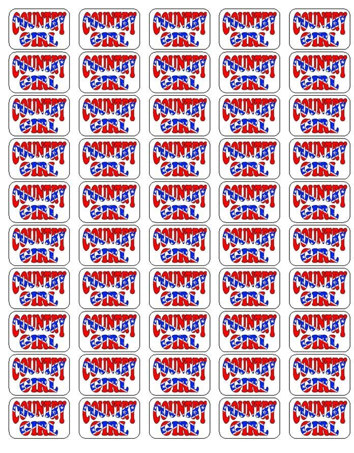 "50 Country Girl Envelope Seals / Labels / Stickers, 1"" by 1.5"""
