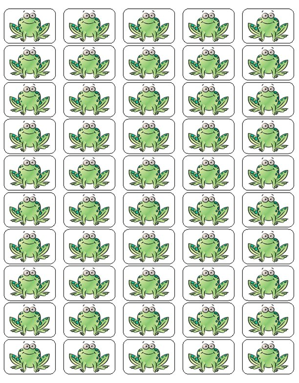 """50 Cartoon Frog Envelope Seals / Labels / Stickers, 1"""" by 1.5"""""""