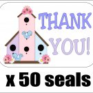 """50 Bird House (Birdhouse) Thank You Envelope Seals / Labels / Stickers, 1"""" by 1.5"""""""