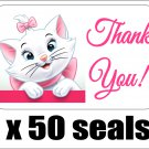 "50 Marie (Aristocats) Thank You Envelope Seals / Labels / Stickers, 1"" by 1.5"""