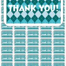 "50 Argyle Aqua Teal Thank You Envelope Seals / Labels / Stickers, 1"" by 1.5"""