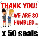 "50 Beavis and Butthead Thank You Envelope Seals / Labels / Stickers, 1"" by 1.5"""