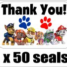 "50 Paw Patrol Thank You Envelope Seals / Labels / Stickers, 1"" by 1.5"""