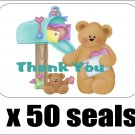 """50 Bear At Mailbox Thank You Envelope Seals / Labels / Stickers, 1"""" by 1.5"""""""