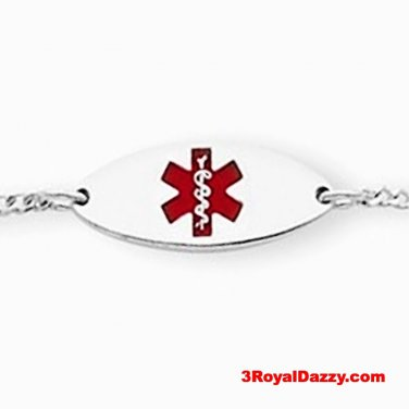 "Sterling Silver 18mm Oval Baby - Children Medical Alert ID Bracelet Adjust 5""-6"""