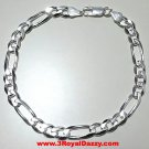 Men Women Children Solid Sterling Silver Italian Figaro Link Bracelet 6.5mm 9""