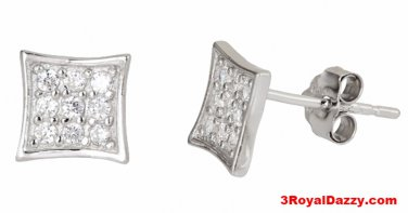 14k white gold layer on Small Flat Square micro pave CZ 925 Sterling Silver Stud