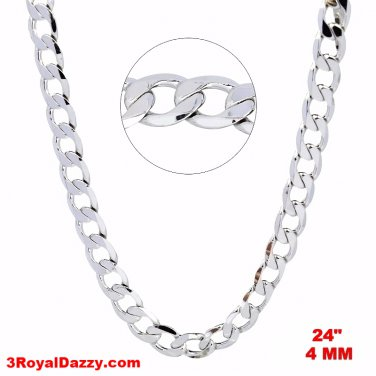 New Italian 14k White gold Rhodium on 925 Sterling Silver Curb Chain- 4 mm - 24""