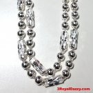 """New Large Size Men Handmade solid .990 Fine Silver Ball & Bar Necklace 6 mm 24"""""""