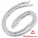 """14k White gold Layer on Solid 925 Sterling Silver Miami Cuban Chain- 5 mm - 26"""""""