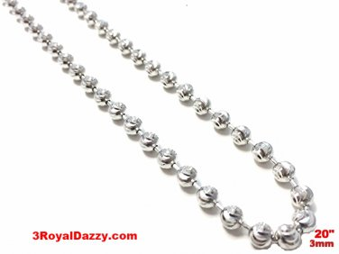 18k white gold layered over .925 sterling silver moon cut chain 3 mm 20 ""
