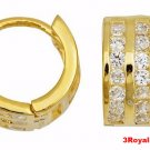 14k Y. gold layer Brilliance three row Channel set CZ Hoop Huggie Earring Solid
