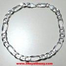 Men Women Children Solid Sterling Silver Italian Figaro Link Bracelet 6.5mm 7""